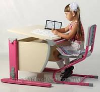 Стол СУТ.15 + Стул СУТ.01 клен/розовый (пластик)