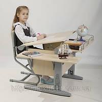 Стол СУТ.14 + Полка задняя СУТ.14.210 + Полка навесная СУТ.14.230 + Стул СУТ.01 клен/серый (пластик)