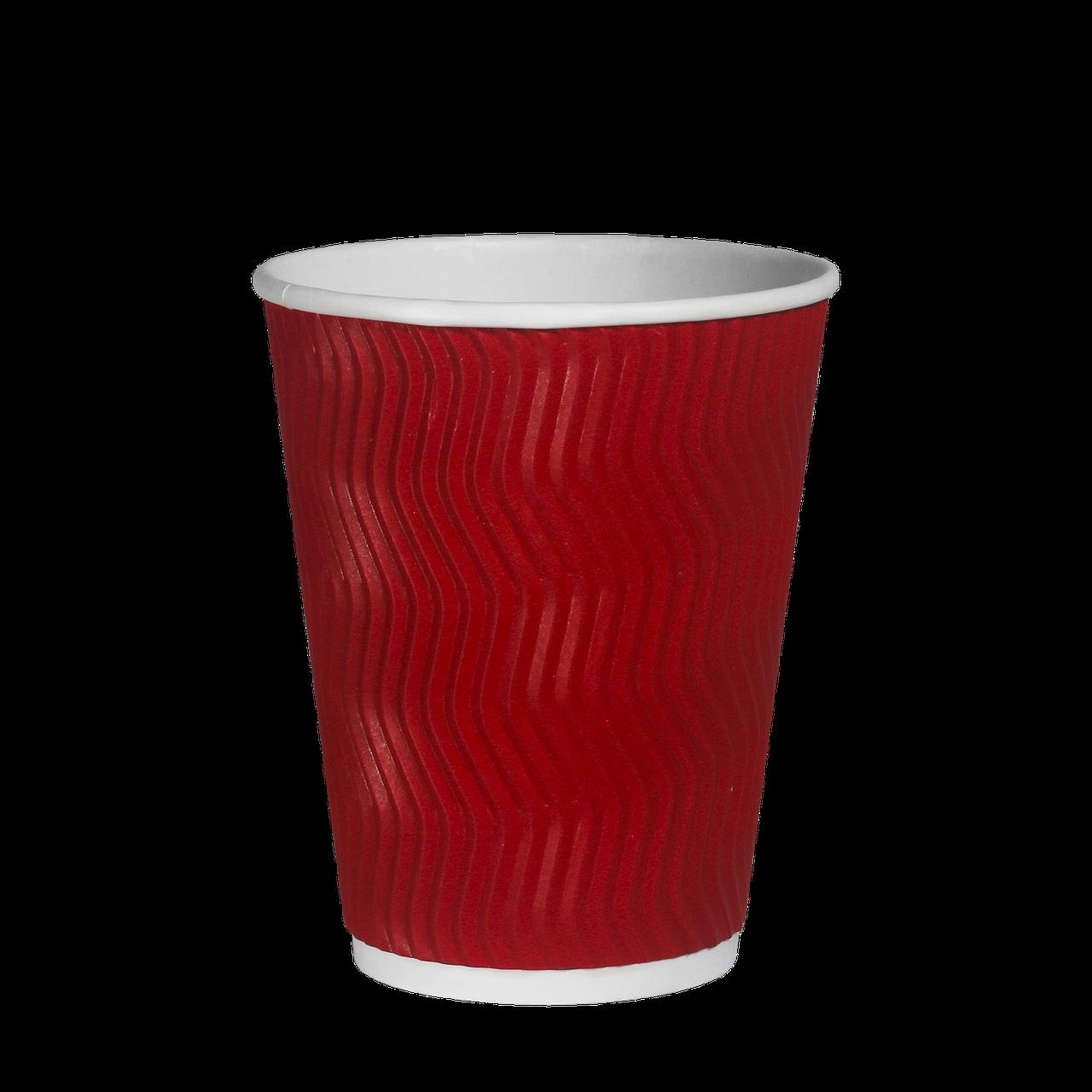"""Стакан гофрований """"Т"""" 340мл 20шт (28/560) КР80 Червоний хвиля"""