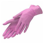 Перчатки виниловые розовые, 70 шт. S