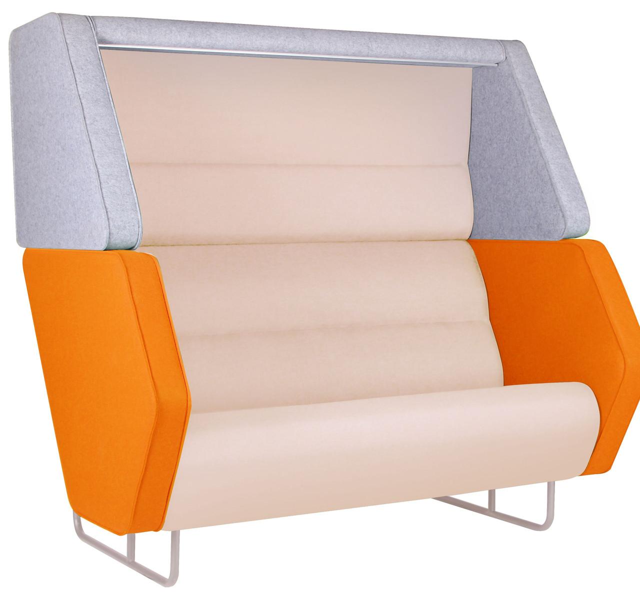 Диван офисный Shell Фетр Серый/Оранжевый, Бежевый ТМ AMF