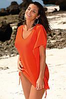 Оранжевая пляжная туника с глубоким декольте и воланами