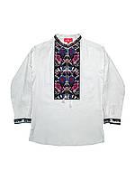 Детская белая льняная рубашка для мальчика с вышивкой Дуэт Piccolo L