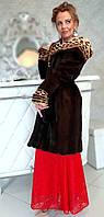 Шуба норковая с капюшоном и вставками из леопарда Модель 200201945, фото 1