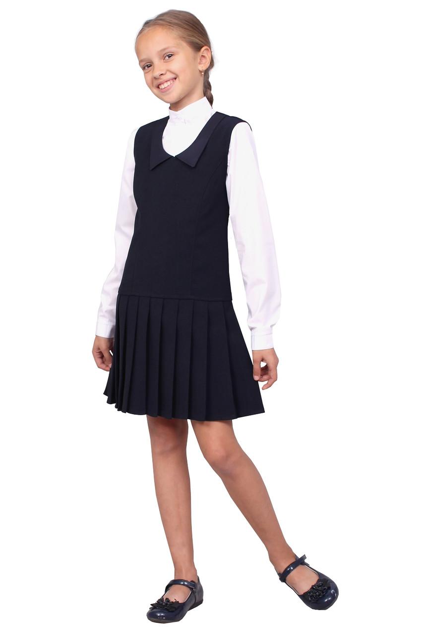 """Сарафан шкільний для дівчинки М-1045 зростання 128 134 140 146 152 158 синій тм """"Попелюшка"""""""
