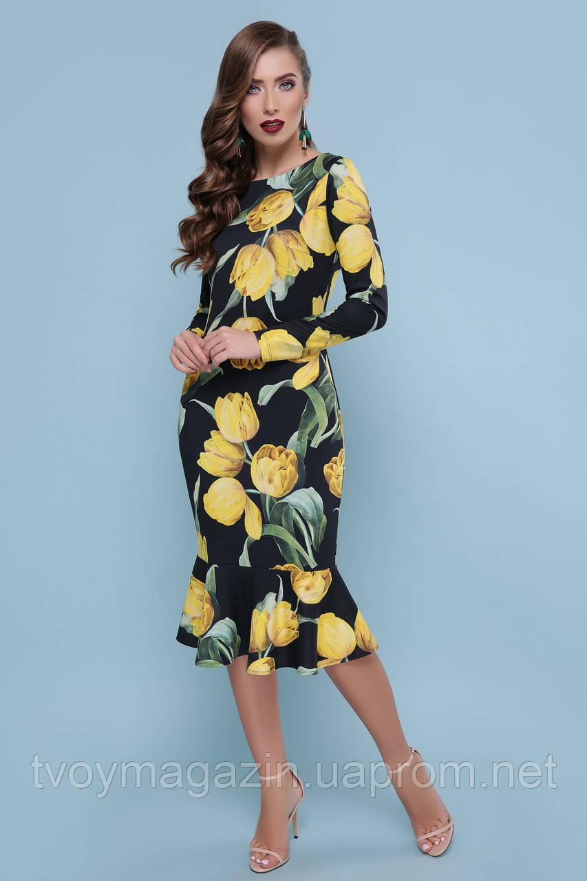 Черное платье с цветочным принтом тюльпанами  Чорна сукня з квітковим принтом тюльпанами
