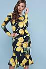 Черное платье с цветочным принтом тюльпанами  Чорна сукня з квітковим принтом тюльпанами, фото 2
