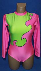 Купальник гимнастический стойка воротник + вышивка пайетки Трикотажное полотно: бифлекс+ декор пайетки Цвет: розовый неон+ светло салатовый Пайетки: хамелеон