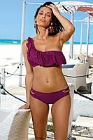 Раздельный купальник латино фиолетового цвета с воланом на бюстгальтере