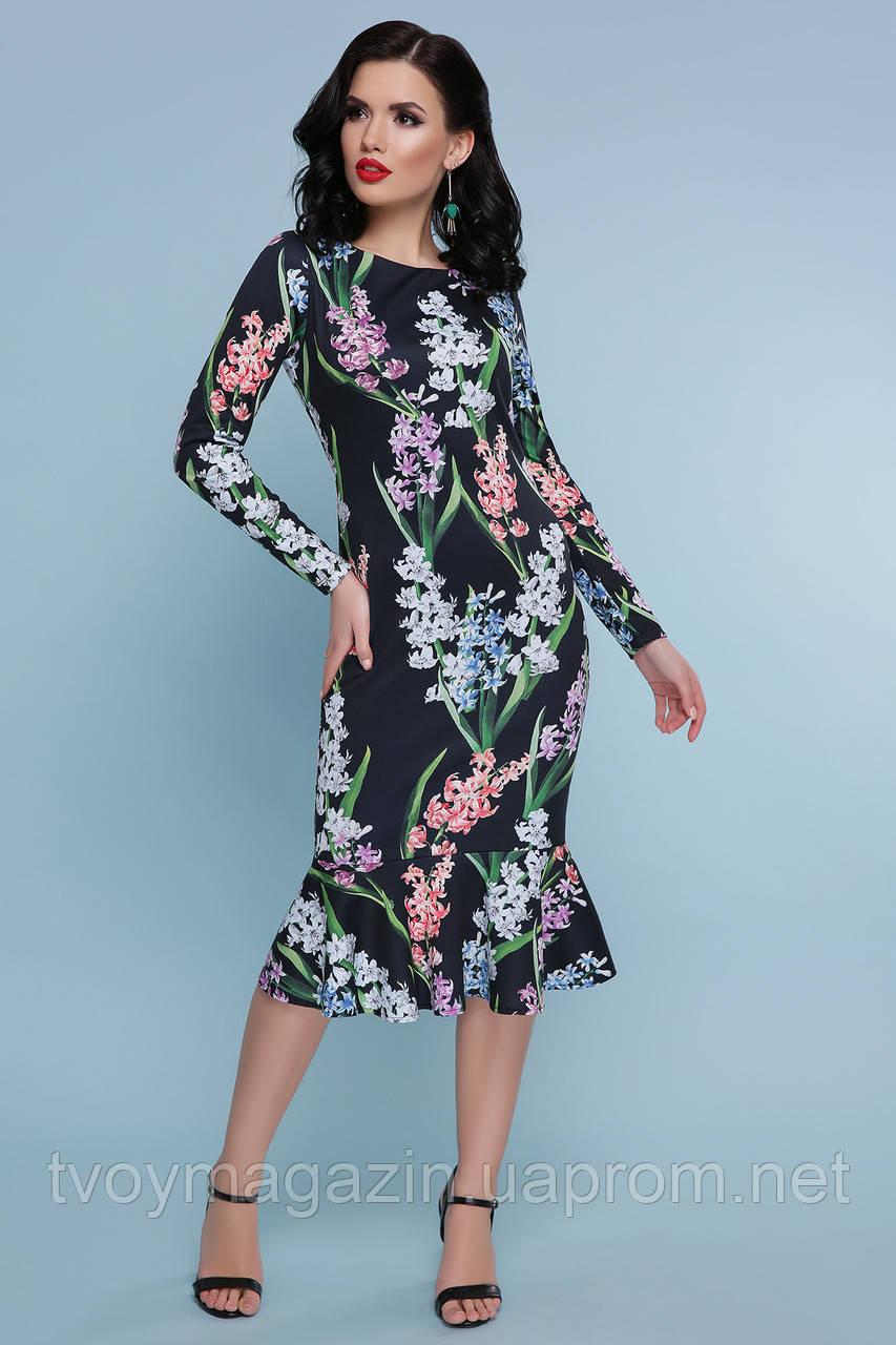Черное платье с цветочным принтом гиацинтами   Чорна сукня з квітковим принтом гіацинтами
