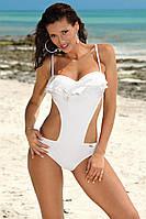 Сдельный купальник монокини белого цвета с воланом и чашечками push-up
