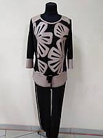 Костюм женский двойка блуза и брюки, костюм эффектный черного цвета с кожаными вставками, костюм нарядный  , фото 1