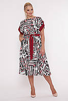 Молодежное женское платья Ирина бордо принт (52-58) , фото 1