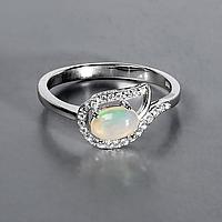 Кольцо из серебра с натуральным радужным опалом, 5*7 мм., серебро 925, 1021КО