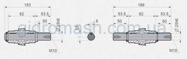 Размеры валов NMRV-050