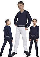"""Свитер для мальчика трикотажный М-1038 рост 110 116 122 128 134 140 146  и 152 синий тм """"Попелюшка"""", фото 1"""