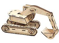 Деревянный конструктор 3Д Гусеничный экскаватор Kalinin арт 014