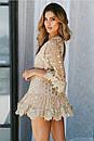 Короткое платье с принтом золотистого гороха из сетки с набивным кружевом, фото 2