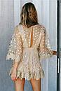 Короткое платье с принтом золотистого гороха из сетки с набивным кружевом, фото 3