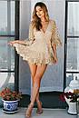 Короткое платье с принтом золотистого гороха из сетки с набивным кружевом, фото 4