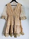 Короткое платье с принтом золотистого гороха из сетки с набивным кружевом, фото 7