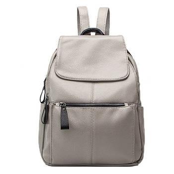 Рюкзак міський жіночий шкіряний (сірий)