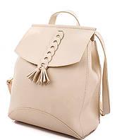 Молодежный сумка-рюкзак WeLassie 45409 с косичкой, бежевый
