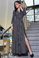 ✔️ Длинное платье женское в мелкий горошек 42-52 размера черное, фото 1