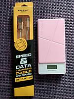 Зарядное устройство на 2USB с экраном для смартфона PowerBank Pineng PN-983 на 10000 мАч Оригинал Розовый, фото 1