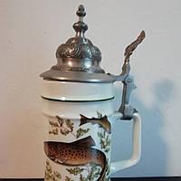 Фарфоровый пивной бокал с оловянной крышкой Рыбаку