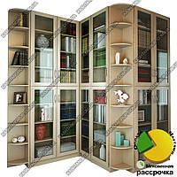 Угловой книжный шкаф для гостиной Ш: 3000 мм, Г: 300 мм, В: 2200 мм