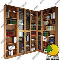 Угловой книжный шкаф для гостиной Ш: 1800-1400 мм, Г: 300 мм, В: 2200 мм