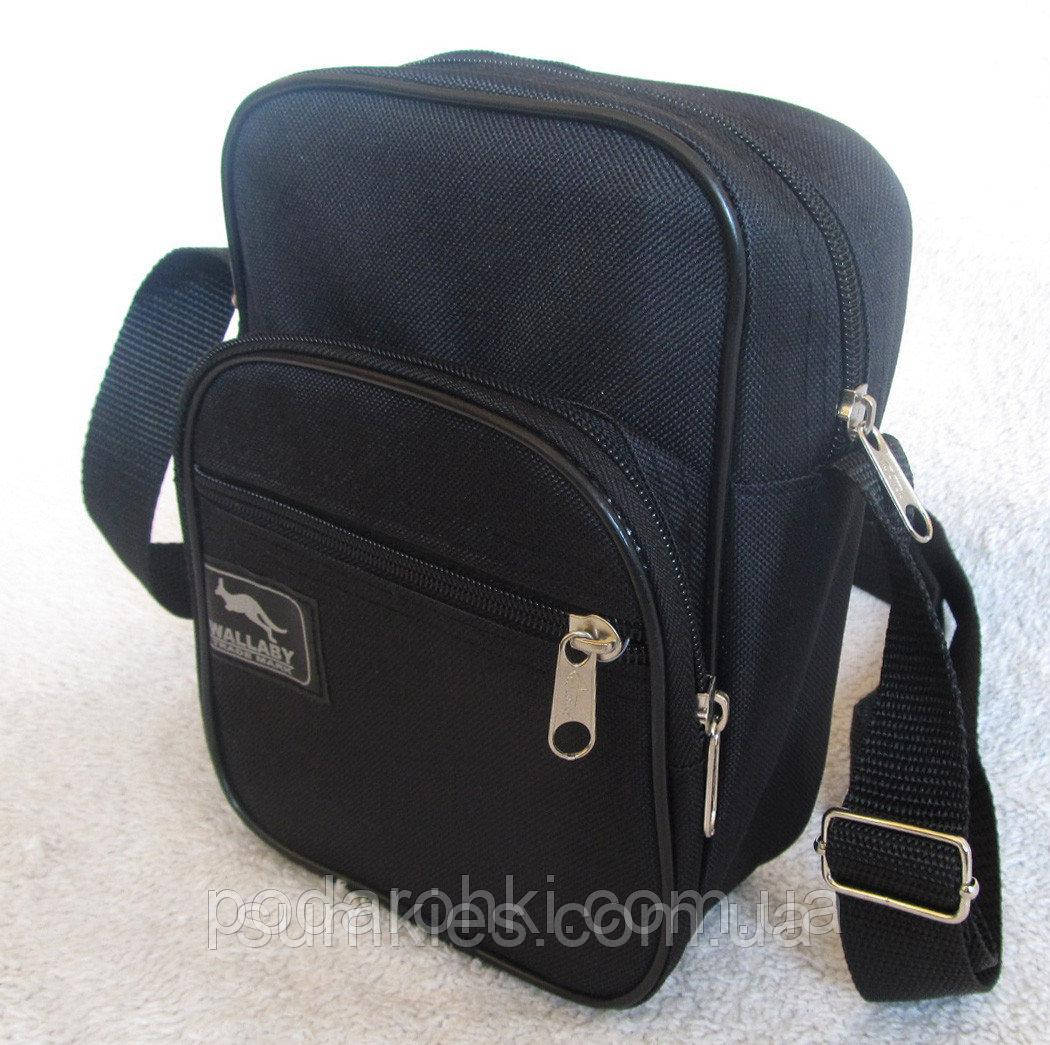 77aa10b161ac Мужская сумка через плечо Wallaby 2661 черная барсетка на пояс 21х16х8см -  Интернет-магазин