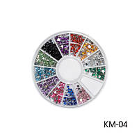 Стразы декоративные KM-04 - в круглой таре