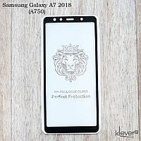 Защитное стекло 2,5D Full Glue для Samsung Galaxy A7 2018 (SM-A750) (черный) (клеится всей поверхностью (5D))