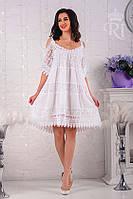 Летнее женское легкое платье хлопок белого цвета, фото 1