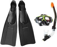 Комплект для плавания: маска, трубка, ласты INTEX 55657