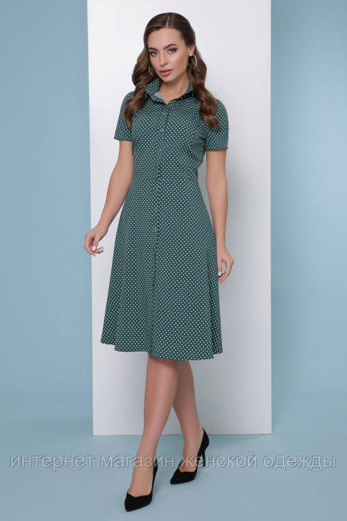 Женское платье рубашка на пуговицах с коротким рукавом