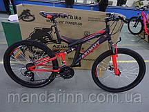 Горный велосипед Azimut Power 24 дюйма. Рама 17. Дисковые тормоза Красно-черный.