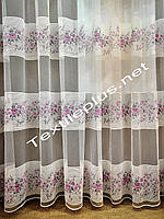 Тюль фатин с цветочным декором