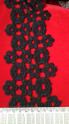 Кружево макраме. Тесьма цветы черная, фото 2