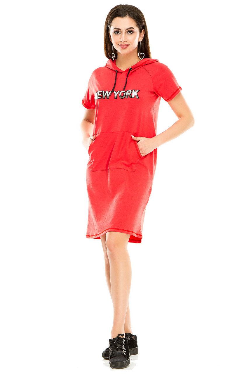 Платье 003 с капюшоном коралл
