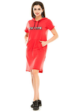 Платье 003 с капюшоном коралл, фото 2