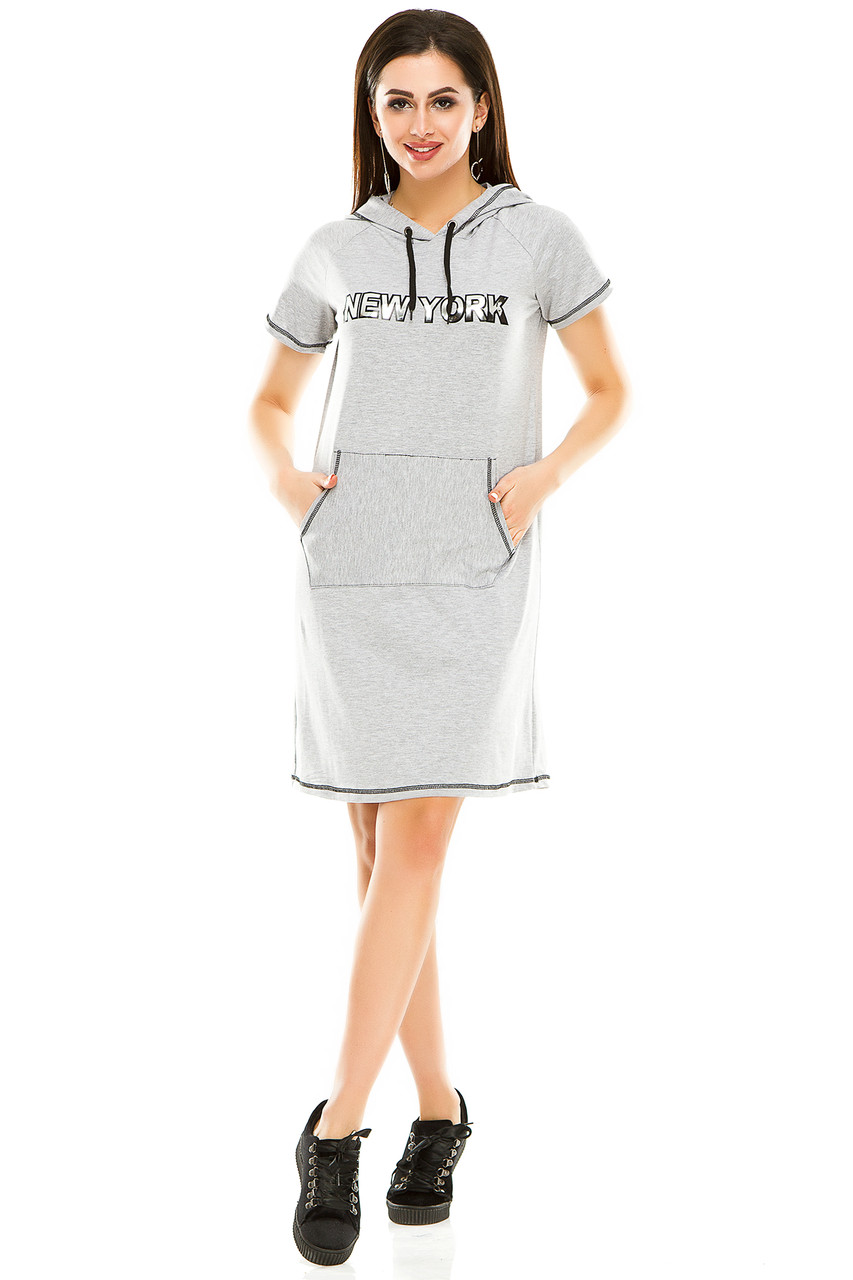 Платье 003 с капюшоном меланж