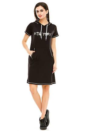 Платье 003 с капюшоном черное, фото 2