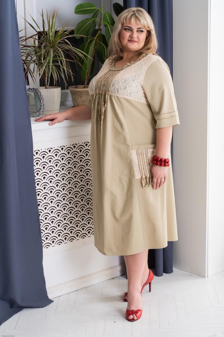 4501c0715 Бежевое платье из льна для полных женщин Этно - V Mode, прямой поставщик  женской одежды
