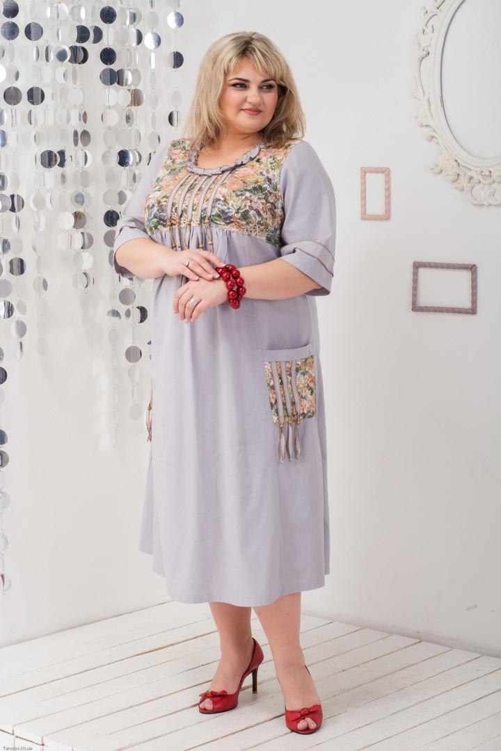 ed648a8e517 Льняное платье больших размеров Этно сирень - V Mode