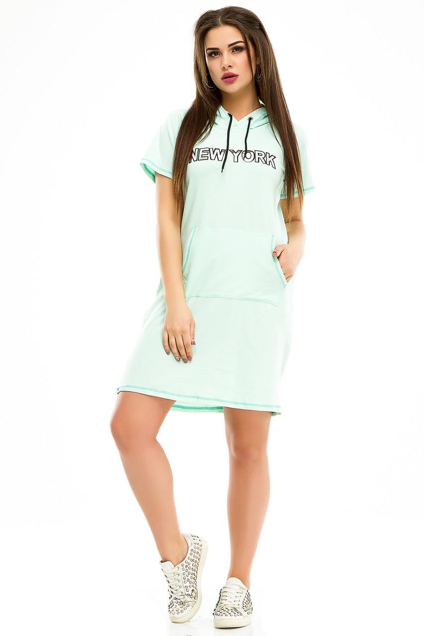 Платье 5003 с капюшоном мята
