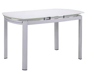 Стол обеденный раскладной Кассандра B179-71 1800(1200)х800х770 База белый/Стекло белый