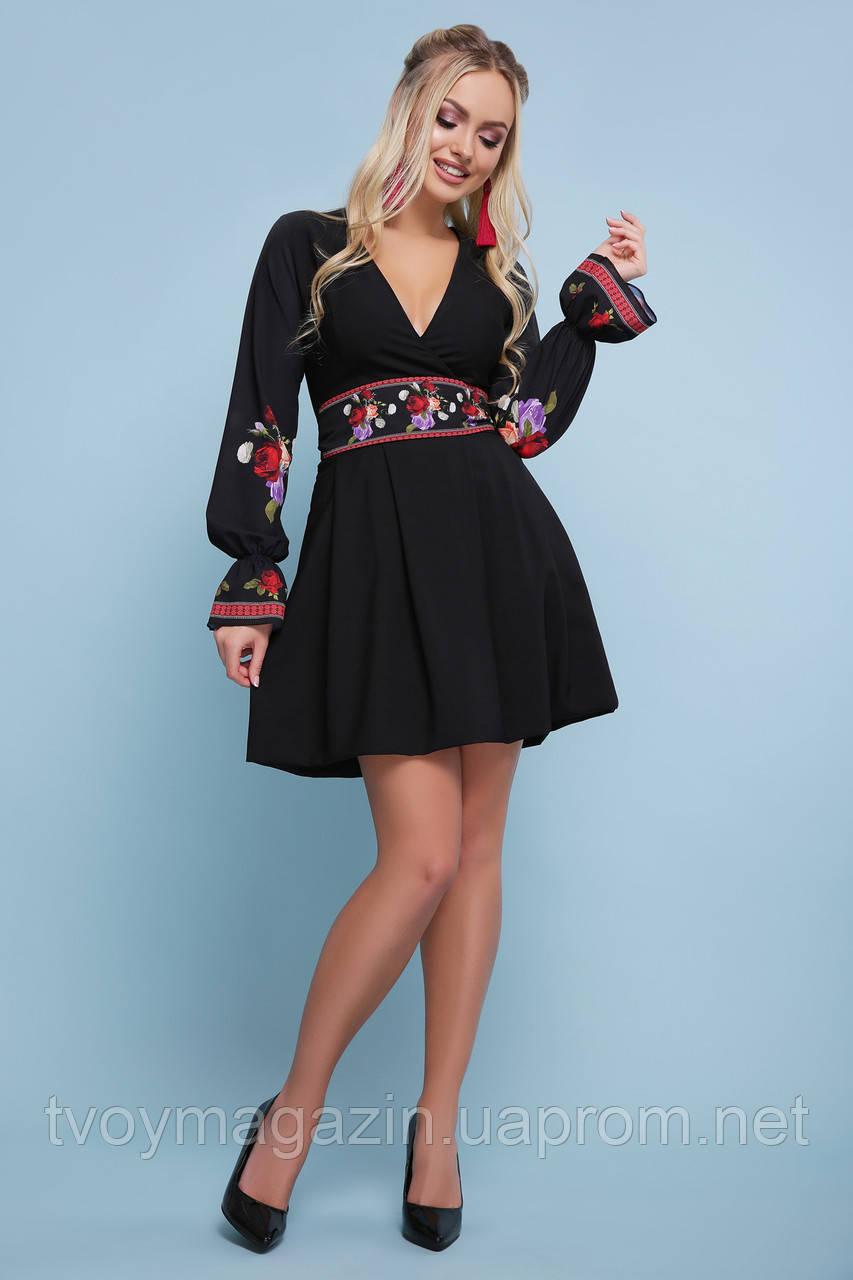 Черное платье с цветочным принтом украинские мотивы Чорна сукня з квітковим принтом украінськими мотивами
